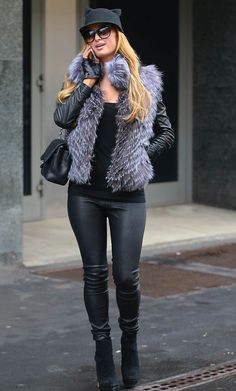 Her trademark look: While some celebrities will never be seen in the same outfit twice, Paris Hilton, happily sported her favourite cat ear cap on Friday Mens Fashion Week, Star Fashion, Look Fashion, Fashion Outfits, Womens Fashion, Fashion Models, Paris Hilton Style, Material Girls, Autumn Winter Fashion