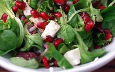 Pomegranate and Feta Salad- festive holiday salad. Create in our Bake and Fill Crispy Salad Shell. Pomegranate And Feta Salad, Pomegranate Seeds, Feta Salat, Clean Eating, Healthy Eating, Arugula Salad, Cooking Recipes, Healthy Recipes, Fruits And Veggies