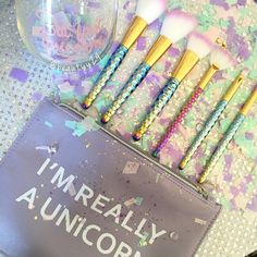I received my pre-ordered brushes from @jeminibeauty ✨ & let me say how MAGICAL ✨ came with 6 brushes, but first unicorns glass & I'm really a unicorn makeup bag!  I paid like $50 but it was so with it just the cause alone! @jeminibeauty lost her sister to cancer, she use to help make the brushes and loved unicorns! She kept the business going in her honor! And also donates part of the proceeds to cancer patients.