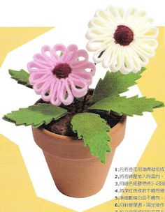 Felt flowers in a pot - tutorial not in English but great photos
