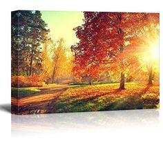 [Framed] Autumn Sun Light Scene Modern Canvas Art Picture Prints Wall Home Decor #wall26 #Impressionism