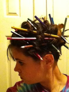 A hairstyle that I did myself. A great idea to use if your child is having a crazy hair day at school!