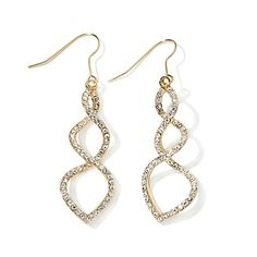 "Roberto by RFM ""Spirale"" Crystal Pavé Goldtone Twisted Drop Earrings"