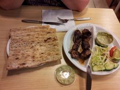 Lovely Afghan chicken kabab with flatbread and yogurtsauce (mint? Choriander?) @ Bazaar, Beverwijk (NL)