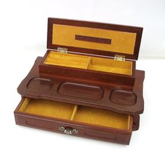 1950s Wooden Box with Lid Wood Mens Jewelry Mirrored Box Metal