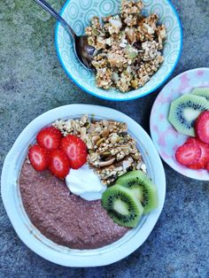 chocolate chia porridge with homemade granola