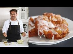 Hot and Crisp Apple Fritters - Kitchen Conundrums with Thomas Joseph - YouTube Apple Fritter Recipes, Donut Recipes, Apple Recipes, Sweet Recipes, Pastries Recipes, Apple Desserts, Delicious Desserts, Yummy Food, Apple Glaze