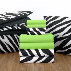 Kiwi and #Zebra Print. Animal print will forever be in style. Pairing black and white prints with bright, eye popping colors adds personality and zest to any space    Full Set (Bedding/Bath Towels) $159.00