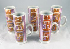 Set of 5 Mid-Century Holt Howard 1967 Mugs Retro Orange/Purple Geometric Pattern in 1960s | eBay
