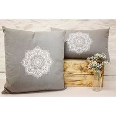 Hand printed mandala cushions available in two sizes x 18 inches or on amazing upholstered grey fabric. Mandala, My Etsy Shop, Cushions, Throw Pillows, Unique Jewelry, Handmade Gifts, Check, Prints, Vintage