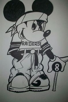 Gangster Drawings, Chicano Drawings, Chicano Art, Art Drawings Sketches, Easy Drawings, Mickey Mouse Drawings, Mickey Mouse Art, Mickey Mouse Wallpaper, Arte Cholo