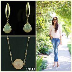 Brincos e colar com quartzo rosa, pedra associada ao amor e à paz!! www.ckdsemijoias.com.br