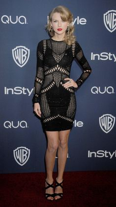 Wearing Julien Macdonald, Taylor attends the 2014 InStyle and Warner Bros. Golden Globe Awards post-party. via @stylelist | http://aol.it/1AABw0X