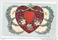 Hearts and Flowers Embossed Gilt Gottschalk Vintage Valentine Postcard
