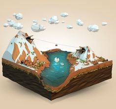 Mammoth Falls by Aldo Pulella, via Behance - 3D Typography Design Modelling