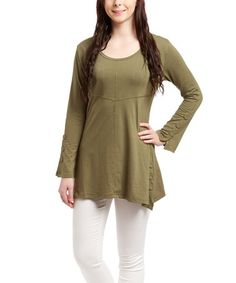 Another great find on #zulily! Green Button Scoop Neck Tunic - Women #zulilyfinds