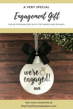 b9d9f2e59b Engagement Ornament, Engagement Christmas Ornament, Bridal Shower Gifts,  Engaged Ornament, Engagement Gift
