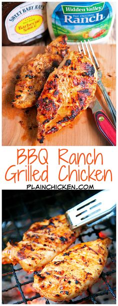 How to make BBQ ranch grilled chicken. BBQ Ranch Grilled Chicken - only 3 ingredients (including the chicken) - super simple marinade that packs a ton of great flavor! Quick, easy and delicious - my three favorite things! I Love Food, Good Food, Yummy Food, Tasty, Cooking Recipes, Healthy Recipes, Radish Recipes, Salmon Recipes, Summer Recipes