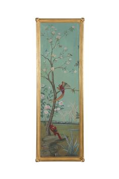 Elsie Jardin Panel II by @ebanistacollect oil painting in antiqued gold frame from Collection Ten by Ebanista. Discover more at www.ebanista.com #Painting #Chinoiserie