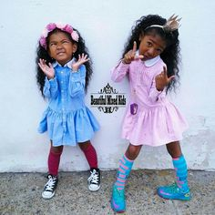Vietnamese, Cambodian and African American - sisters Cute Twins, Cute Babies, Baby Kids, Beautiful Black Babies, Beautiful Children, African American Girl, American Girls, Black Girl Fashion, Kids Fashion