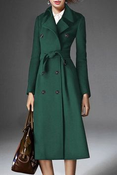 Stylish Turn-Down Collar Long Sleeve Double-Breasted Belted Coat For Women