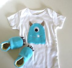 Blue Fuzzy Monster Baby Gift Set- for amy's baby