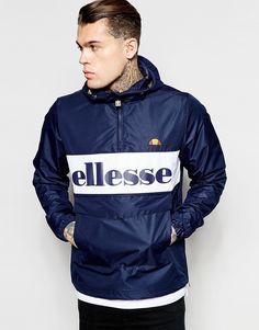 e200a02f6b35 Ellesse Overhead Jacket With Large Logo at asos.com