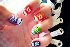 Purple, Red, Orange, Green, Blue Converse Nails