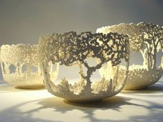 Art In Clay Studio Barry Guppy 3 tree-bowls: Ceramics Art, Ceramics Pottery