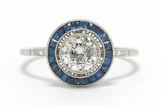 Art Deco Platinum Old European Cut Diamond Engagement Ring With Sapphire Halo