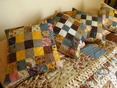 """Quilt & Cushions for my Stepdaughter Victoria - Using Moda """"Collection for a Cause - Love"""" Mini charm packs (2 1/2"""" squares) + complimentary Moda Fabrics - close up of Cushions"""