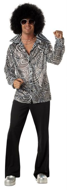 Adult Groovy 70's Disco Shirt and Afro Wig - Candy Apple Costumes - 70's Costumes