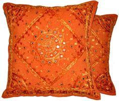 2pc orange decorative Throw Pillow, Indian Mirror Work Pillow, Decorative Gypsy PIllow, Ethnic Indian Floor Pillow Bohemian Pillow cushion