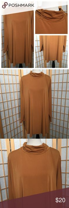 """Susan Graver Long Sleeve Tunic Top SZ 3X Long sleeve tunic top...rouched mock turtleneck....stretch material....approximate measurements....bust 30""""....length 34""""....sleeve length 24"""".... Susan Graver Tops"""