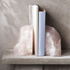 Rose Quartz Crystal Bookends