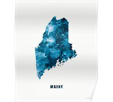 Maine Map   #maine #state #unitedstates #usa #map #art #print #poster #home #office #wall #decor #gift #ideas #travel #abstract #minimalist #augusta #city #blue #watercolor