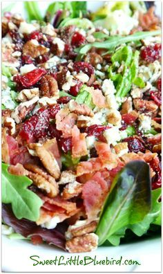 MY #1 MOST REQUESTED SALAD {Made with Gorgonzola, Apple, Dried Cherries, Toasted Pecans and Bacon topped with a Sweet Balsamic Dressing} If you're a fan of the ingredients, you will love this salad and will be going back for seconds...maybe thirds!