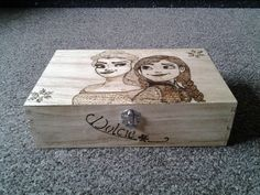 frozen storage box hand crafted pyrography personalised by woofys, £29.99