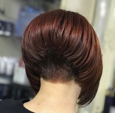 80 Bob Hairstyles To Give You All The Short Hair Inspiration - Hairstyles Trends Short Stacked Bob Haircuts, Stacked Bob Hairstyles, Short Hair Cuts, Short Hair Styles, Bobbed Hairstyles With Fringe, Undercut Hairstyles, Cool Hairstyles, Undercut Bob, Short Hair Back View