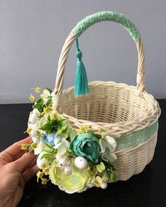 Cane Baskets, Gift Baskets, Edible Bouquets, Some Bunny Loves You, Flower Girl Basket, Basket Decoration, Baby Boy Shower, Craft Gifts, Paper Flowers