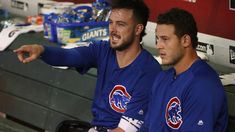 Kris Bryant and Anthony Rizzo: Photos of the Cubs' duo known as Bryzzo. Bryant Baseball, Chicago Cubs Baseball, Baseball Boys, Chicago White Sox, Boston Red Sox, Go Cubs Go, Cubs Fan, Buster Posey, Tampa Bay Rays