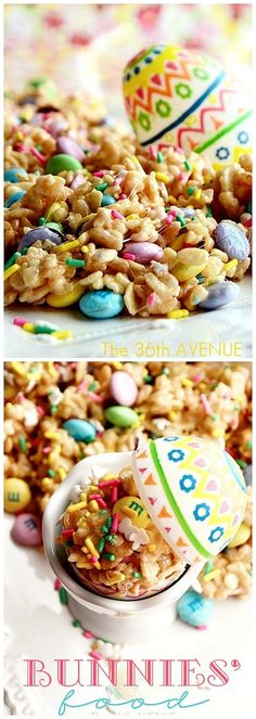 Festive Rice Crispy Treats. This recipe is easy, fun and yummy... Kids love this stuff! #recipes #easter