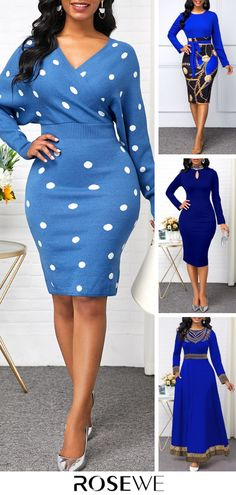 Blue Dresses For Women, Simple Dresses, Clothes For Women, Smart Casual Women Dress, Long Sleeve Mermaid Dress, African Dress, Pattern Fashion, Dress To Impress, Fashion Outfits