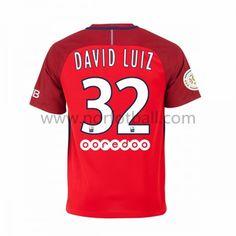 Billige Fotballdrakter Paris Saint Germain Psg 2016-17 David Luiz 32 Borte Draktsett Kortermet