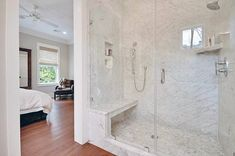 Ultimate guide of shower bench ideas. See pictures of built-in shower benches, floating designs & portable bamboo and teak shower seats. Shower Bench Built In, Wood Shower Bench, Bathroom Bench, Built In Bench, Master Bathroom, Shower Benches, Bathroom Pics, Bathroom Ideas, Corner Shower Bench