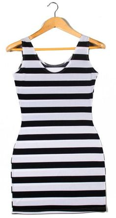 EAST KNITTING X-081 New 2014 Black White stripe dress Vertical Zebra Stripe Women slim hips dresses for summer free shipping