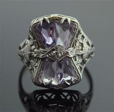 White Gold Filigree Ring with Amethyst