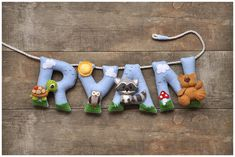Felt name banner nursery decor personalized gift by DreamCreates Felt Name Banner, Felt Letters, Name Banners, Felt Crafts Diy, Letter Symbols, Felt Garland, Felt Baby, Mobiles, Felt Toys