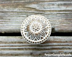 NEW! Decorative White Iron Knobs w/Raised Shiny Gold Floral Accents by MagicalBeansHome.com