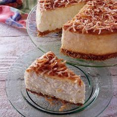 Pineapple cheesecake for Passover  (alternate crust - one 10oz can coconut or almond macaroons, 2 tsp melted butter.  Combine in food processor and press into 10 inch springform pan.  Bake 7 min at 350 degrees.Cool.  )